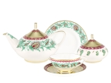 Lomonosov Porcelain Tea Set Oriental Flower Dome 20 items for 6 persons Bone China