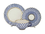 Imperial Lomonosov Porcelain Tulip Cobalt Net Tea Set 3 pc