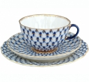 Imperial Lomonosov Porcelain Tulip Cobalt Net Tea Set 3 pc