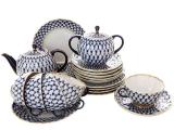 Porcelain Tulip Cobalt Net Tea Set 6/20: Tea Pot, Sugar Bowl, 6 Cups with Saucers and 6 Cake Plates