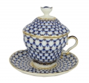 Lomonosov Porcelain Covered Cup Set Gift-2 Cobalt Net 8.45 oz/250 ml