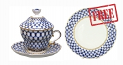 Special Offer: Buy Porcelain Covered Cup Set Gift-2 Cobalt Net 8.45 oz/250 ml and get FREE Matching Dessert Plate