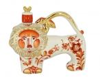Lomonosov Imperial Porcelain Whisky/Vodka Decanter Red Lion  12.8 fl.oz/380 ml