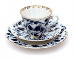 Russian Porcelain Porcelain Set 3pc Cup, Saucer and Plate Radiant Blue Bells 7.95 oz/235 ml