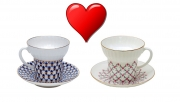 Valentine's Day Special: Lomonosov Couple Cup Set Cobalt and Pink Net Wave 5,24 oz/155 ml