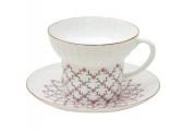 Lomonosov Porcelain Bone China Espresso Coffee Cup and Saucer Wave Pink Net 5.24 oz/155 ml