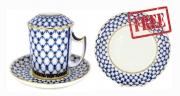 Special Offer: Buy Porcelain Cobalt Net Covered Herbal Steep 12.8 oz Mug and get FREE Matching Dessert Plate