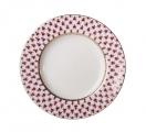 """Lomonosov Porcelain Cake Dessert Tulip Plate Red Net 7""""/180 mm"""