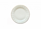 Russian Porcelain Bone China Cake Dessert Plate Nega Golden Ribbon 7.6 inches/190 mm