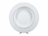 """Lomonosov Porcelain Dinner Soup Plate European-2 Platinum Omega Net 8.9""""/225 mm"""