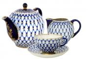Lomonosov Porcelain Tea Set 4 pieces Cobalt Net Tulip